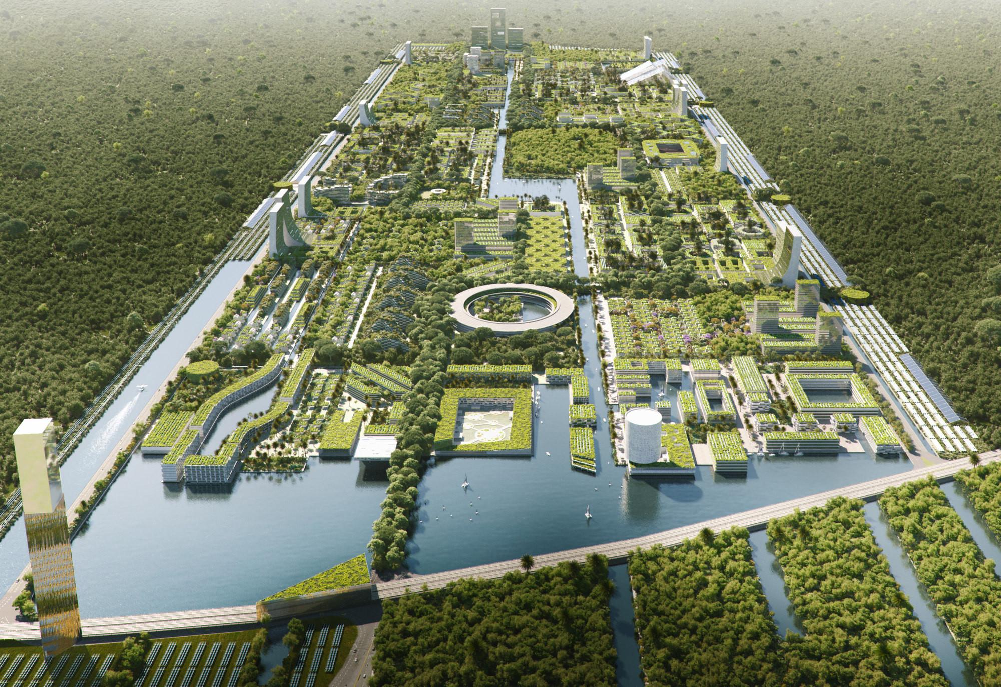 Образец сочетания экологичности и научных исследований - первый умный лесной город недалеко от Канкуна, Мексика.