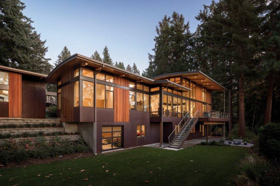 Семейный «Дом Волны» на берегу озера Вашингтон, США
