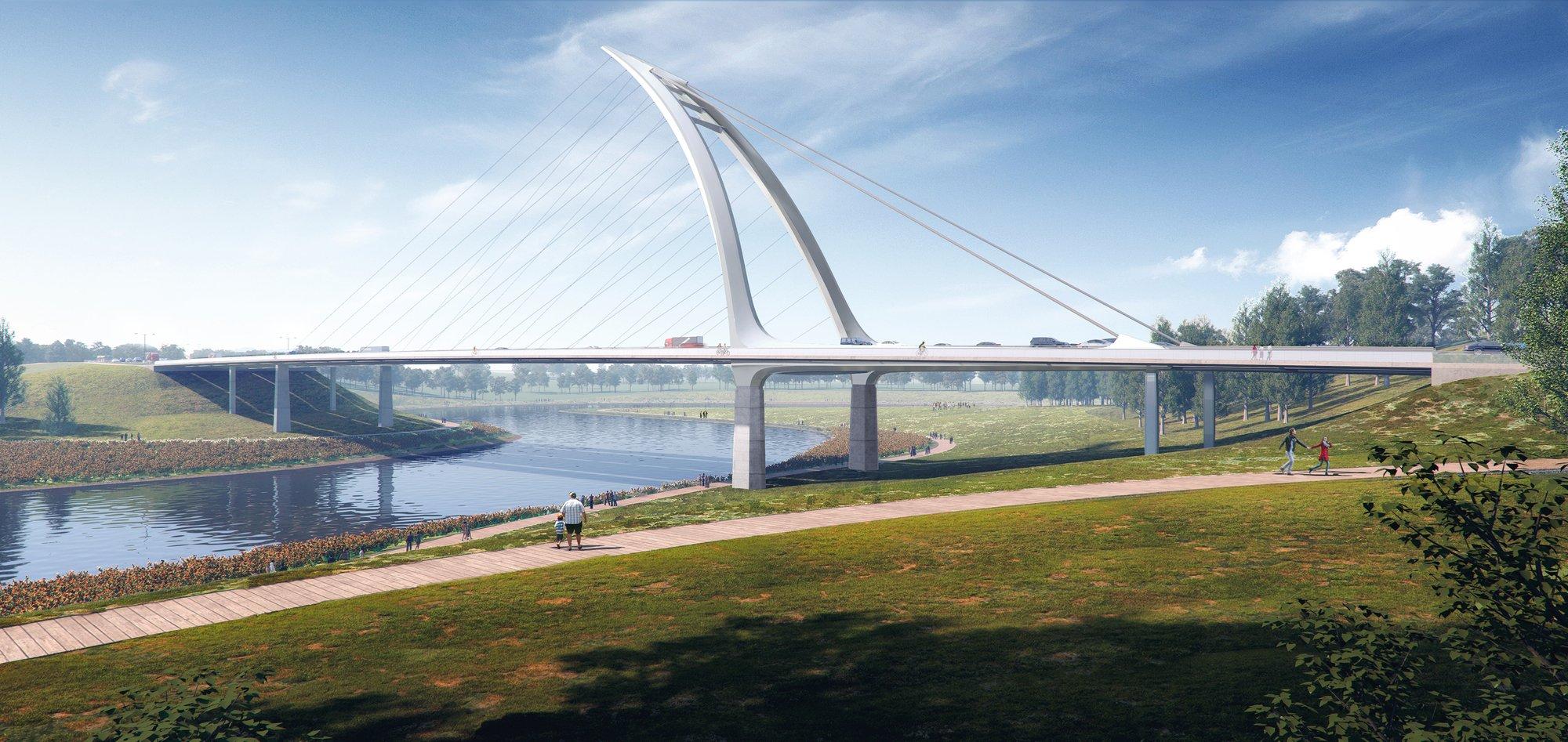 Два эффектных проекта парящих мостов через реку Цзянси, Китай