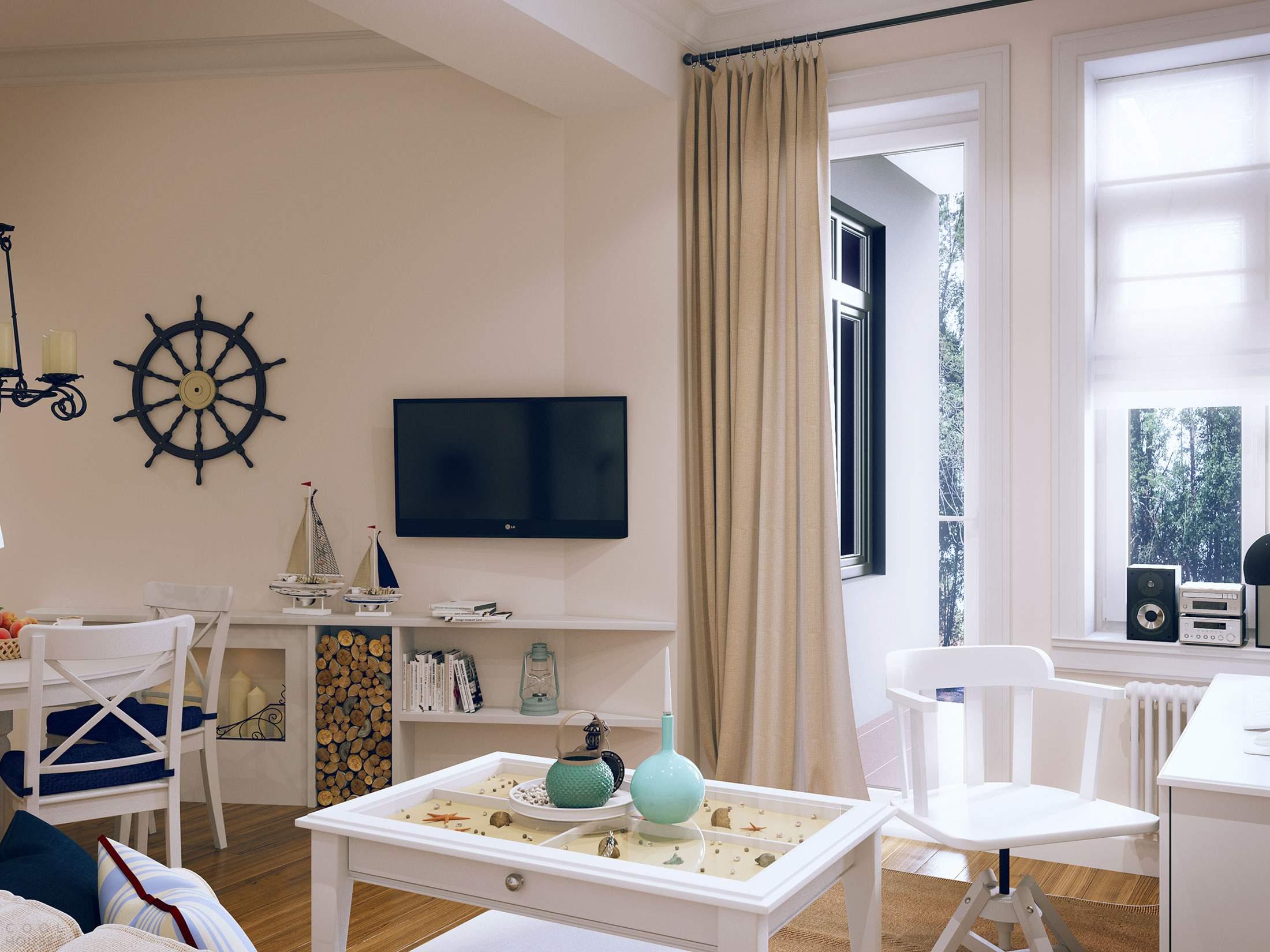 Современная квартира с интерьером в морском стиле в Санкт-Петербурге