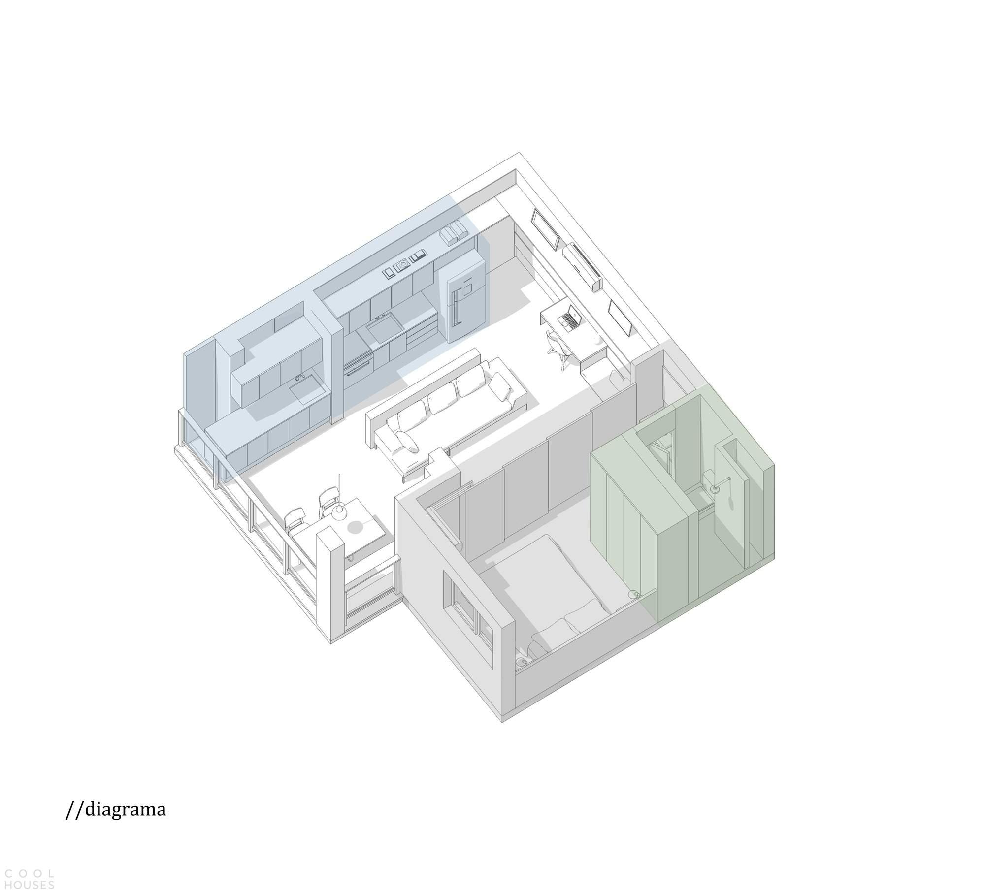 Студия 38 кв. м. с умным дизайном