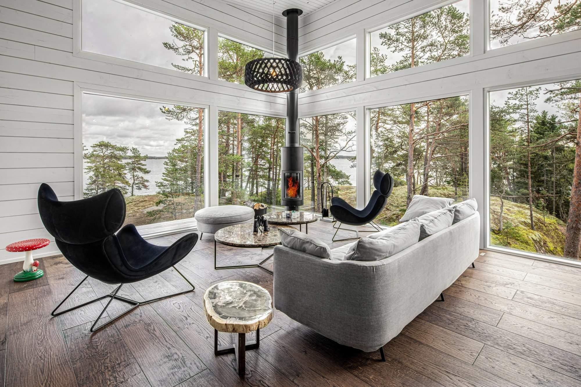 Экодом на скальном участке архипелага в Балтийском море, Финляндия