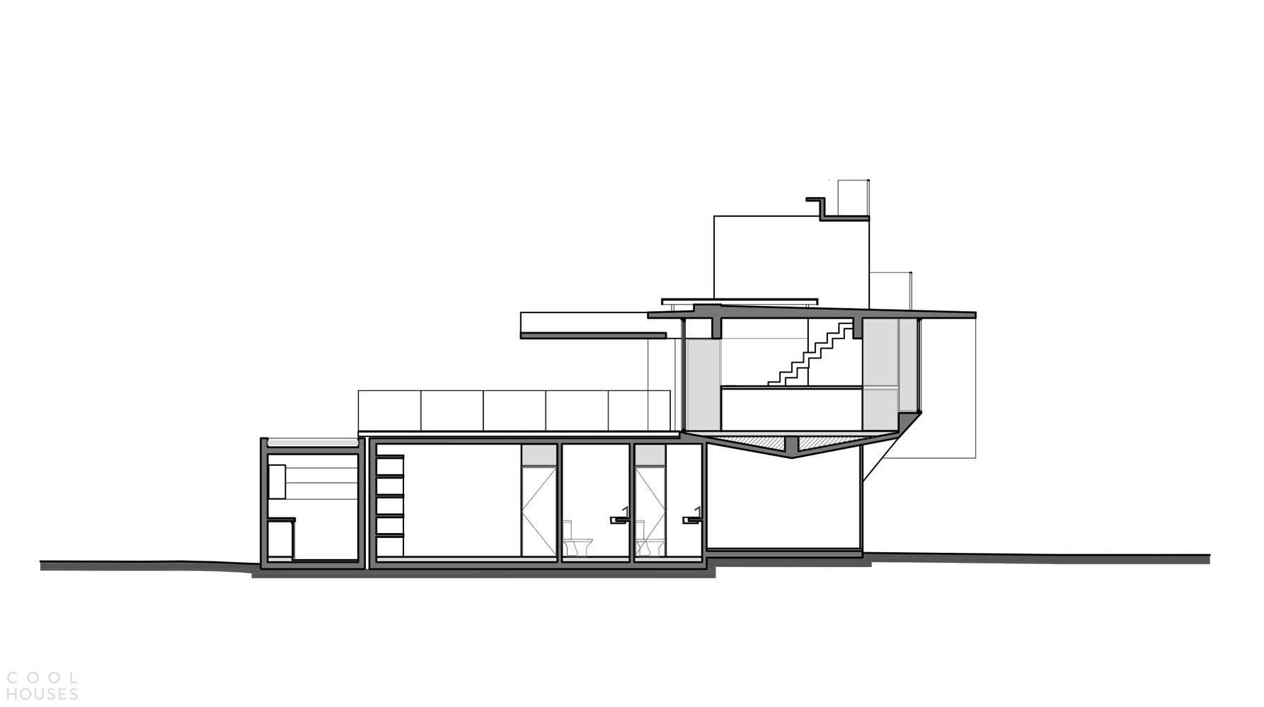 Бетонный дом, поддерживаемый треугольной колонной, Аргентина