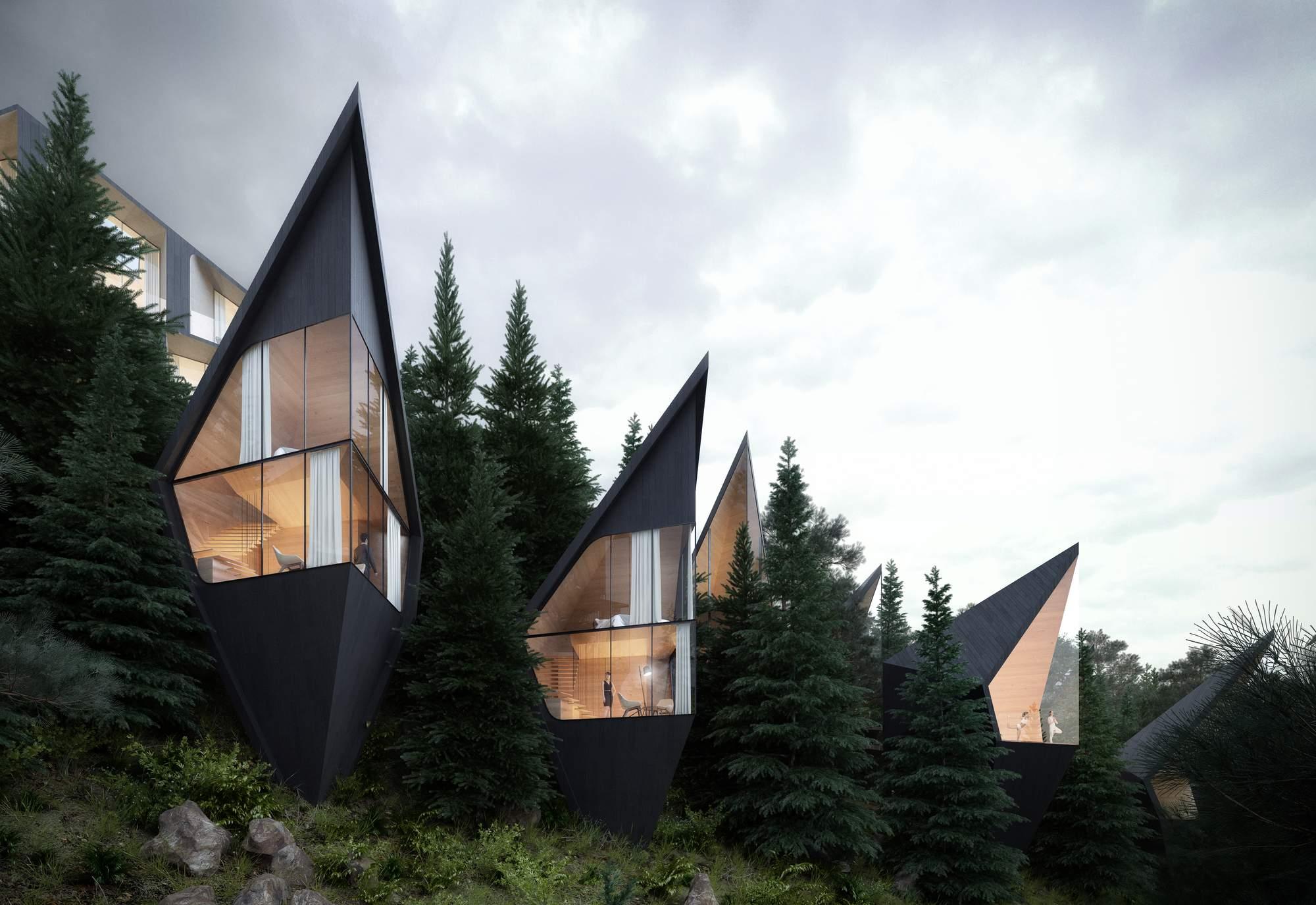 Футуристические домики на деревьях в Доломитовых Альпах Италии