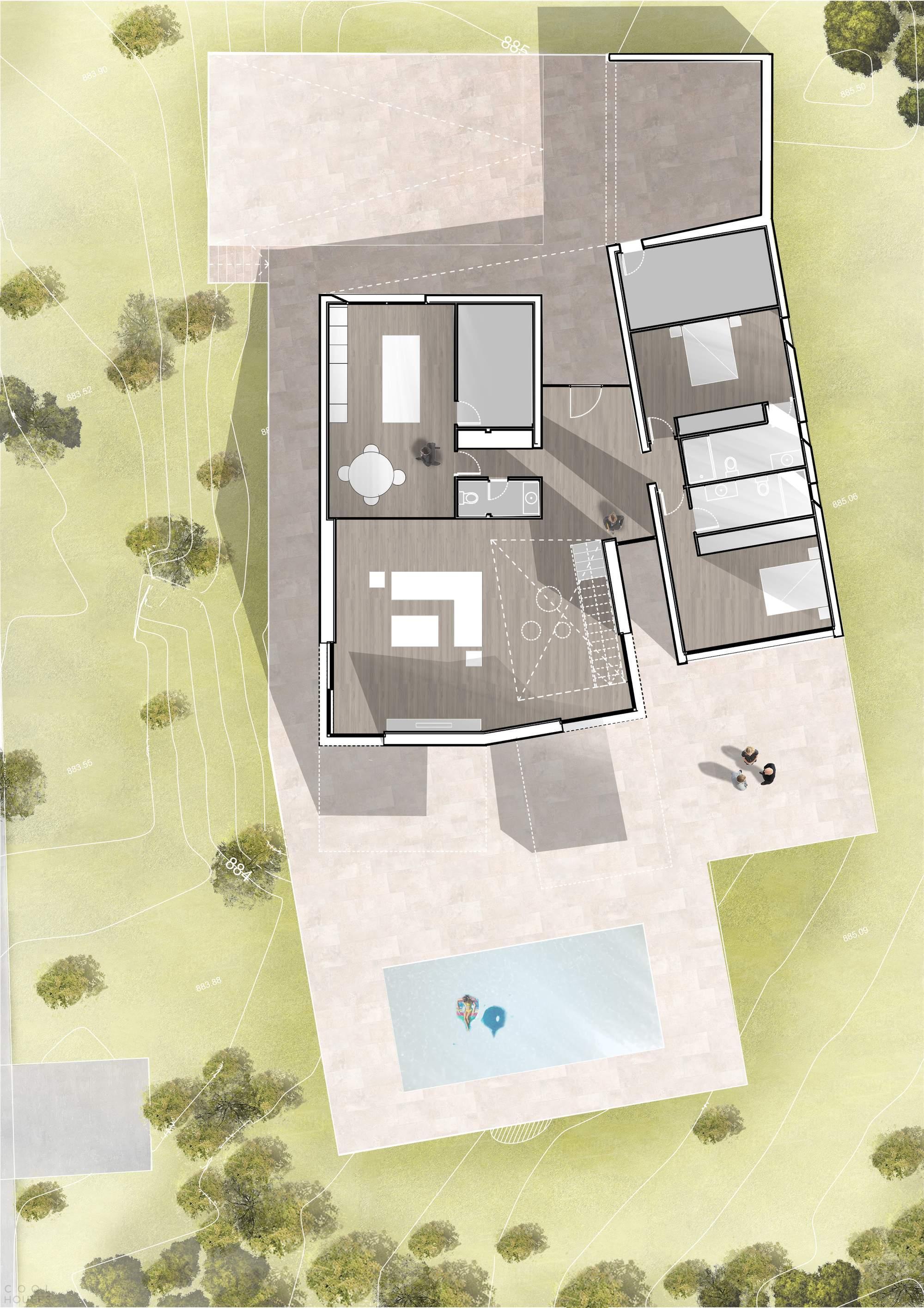Современный дом с эффектными консолями, Испания