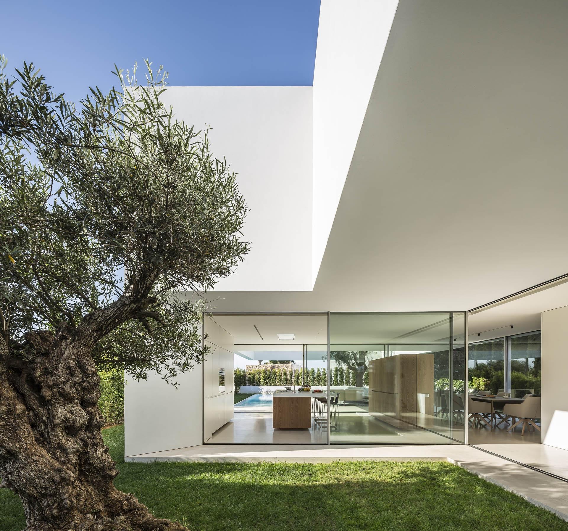 «Дом трех деревьев» с консольной конструкцией и интровертным характером