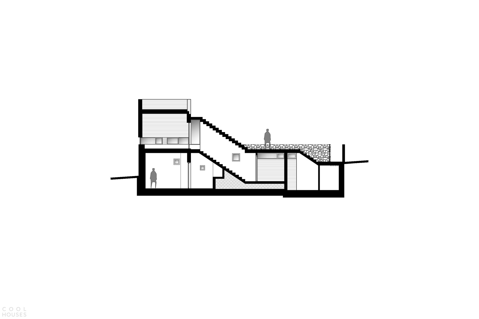 Каменная резиденция со сложным динамичным дизайном