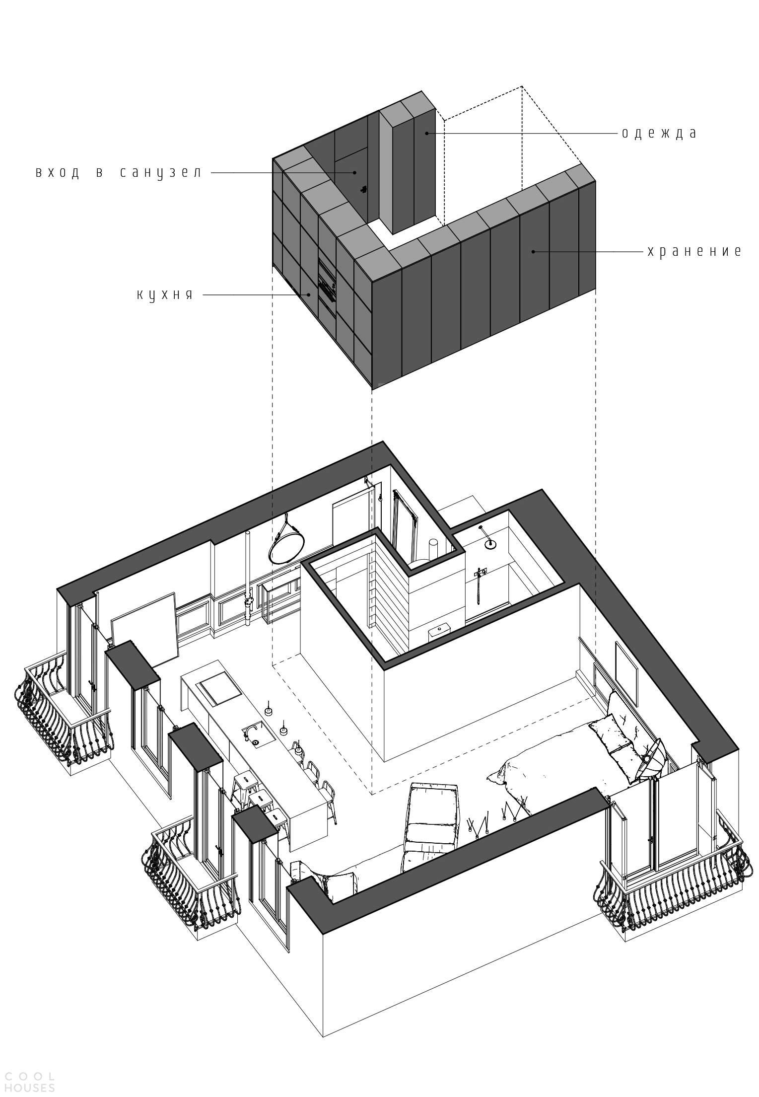 Современная квартира с элементами неоклассицизма в Москве