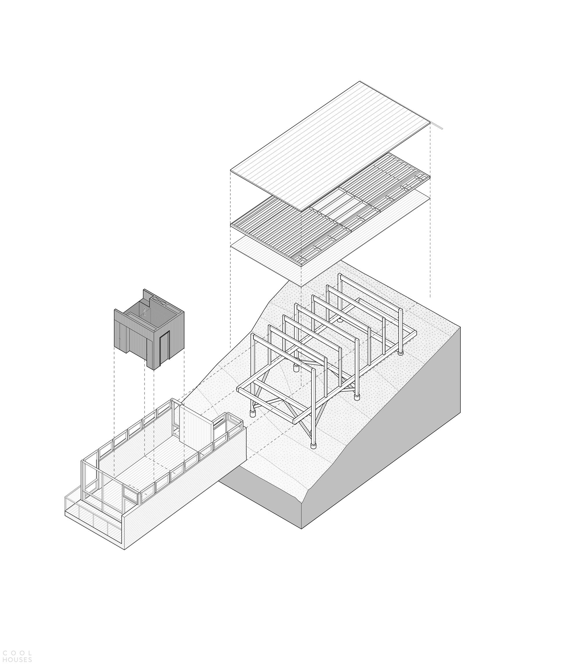 Деревянная пристройка к архитектурно значимой каюте на острове Декейтер