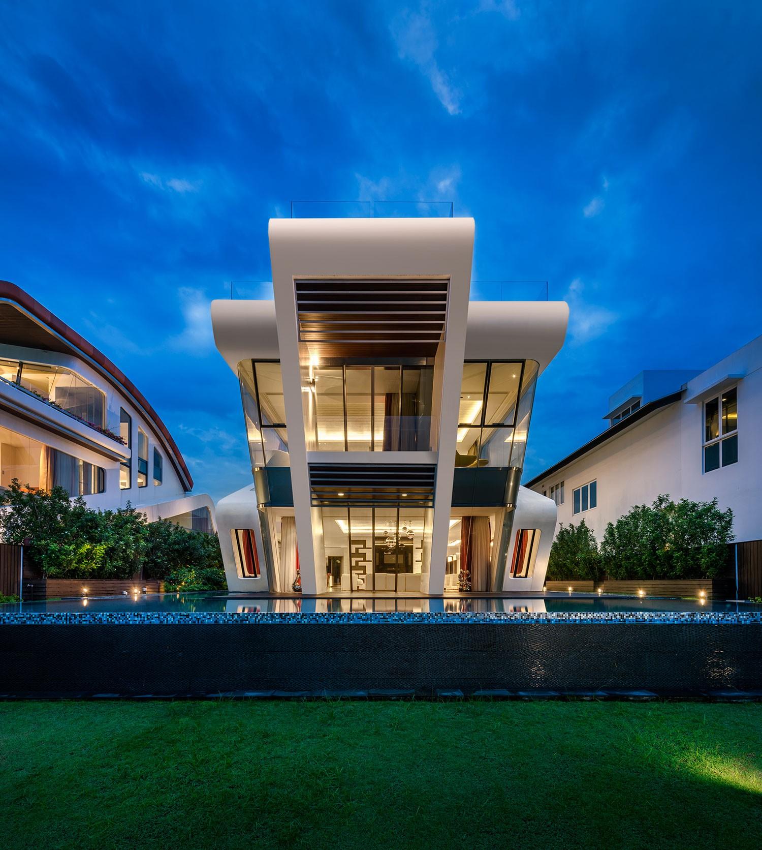 Вилла в стиле футуристического дизайна в Сингапуре