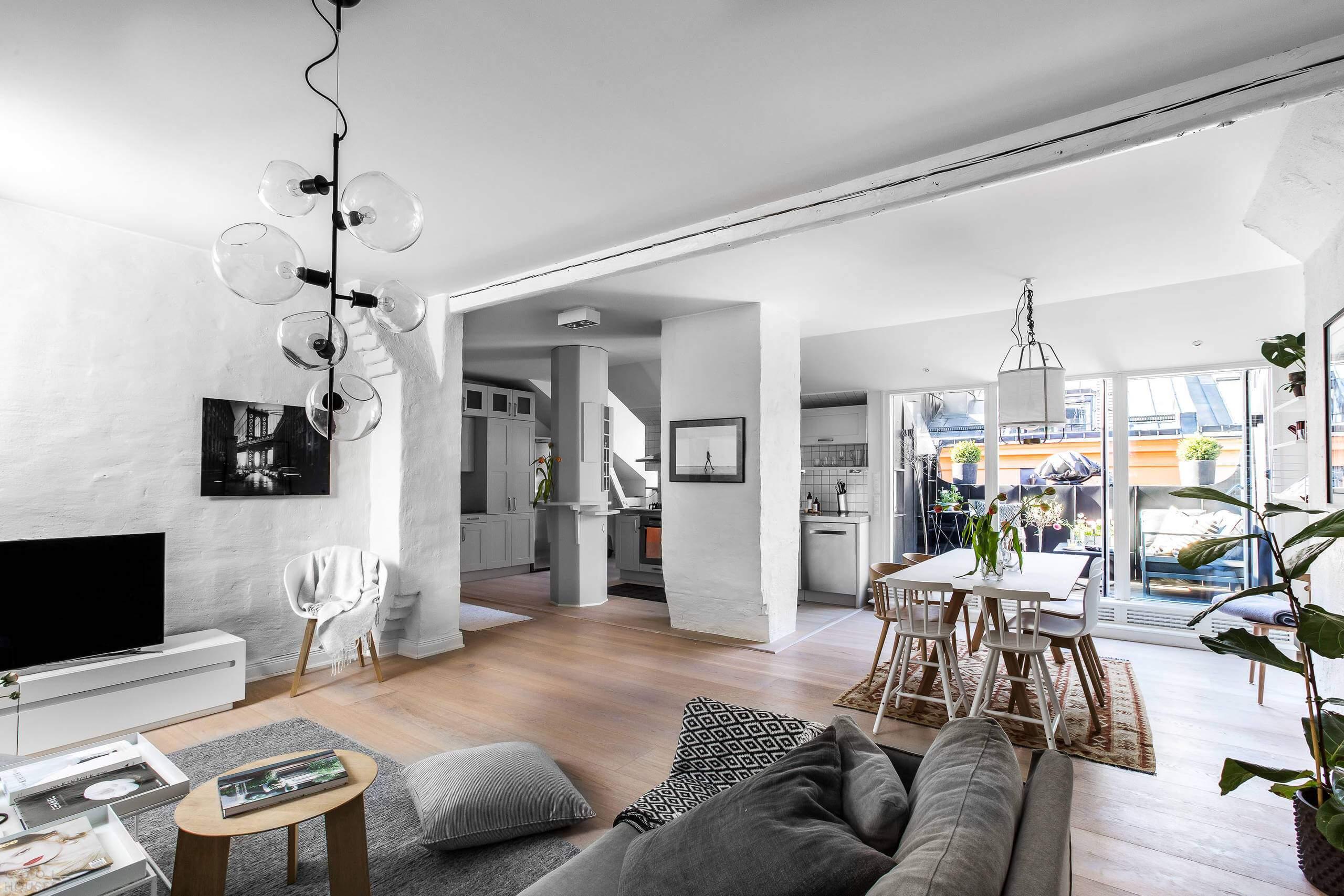 Современная квартира в скандинавском стиле в Швеции