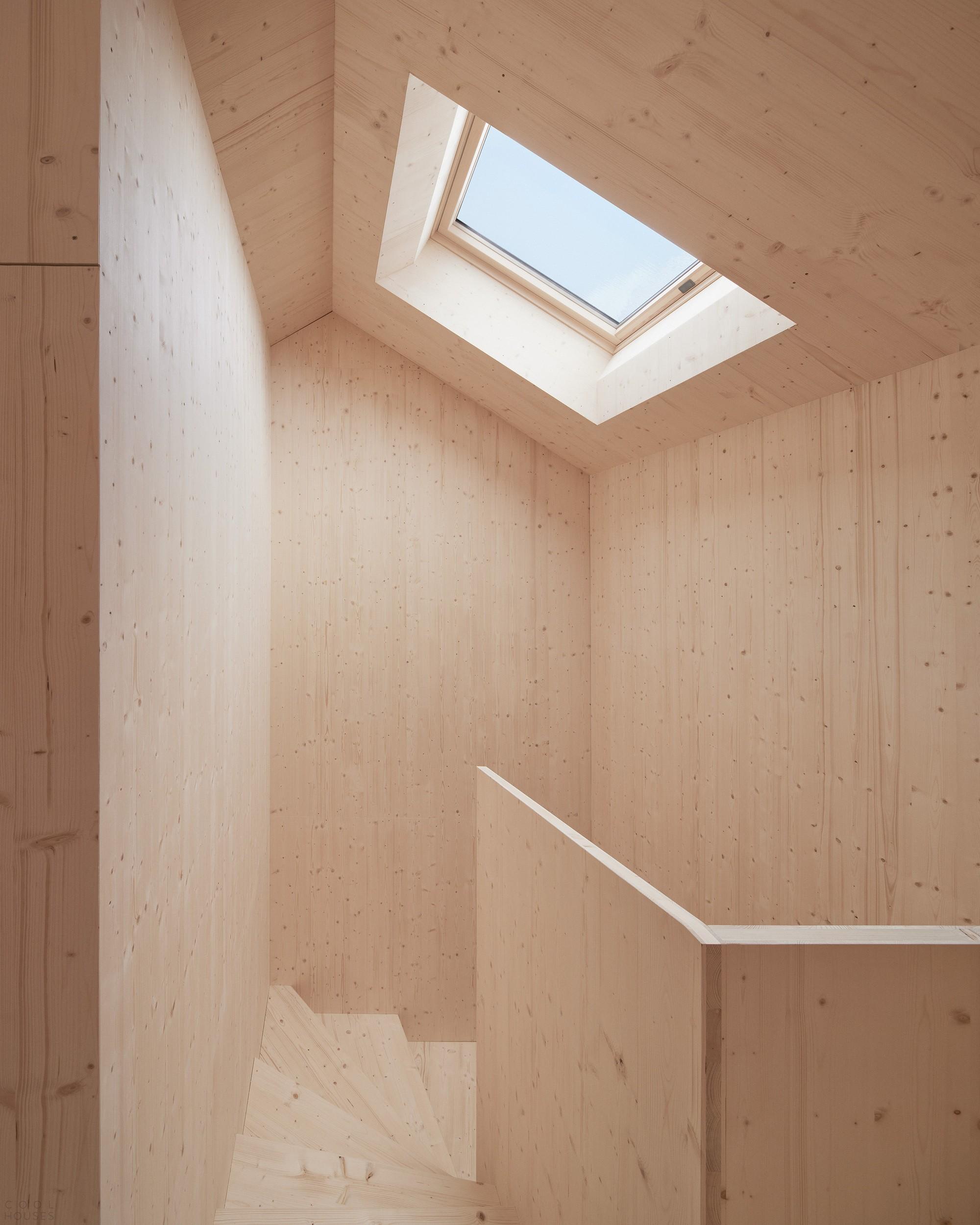 Дом из ели со скульптурным интерьером