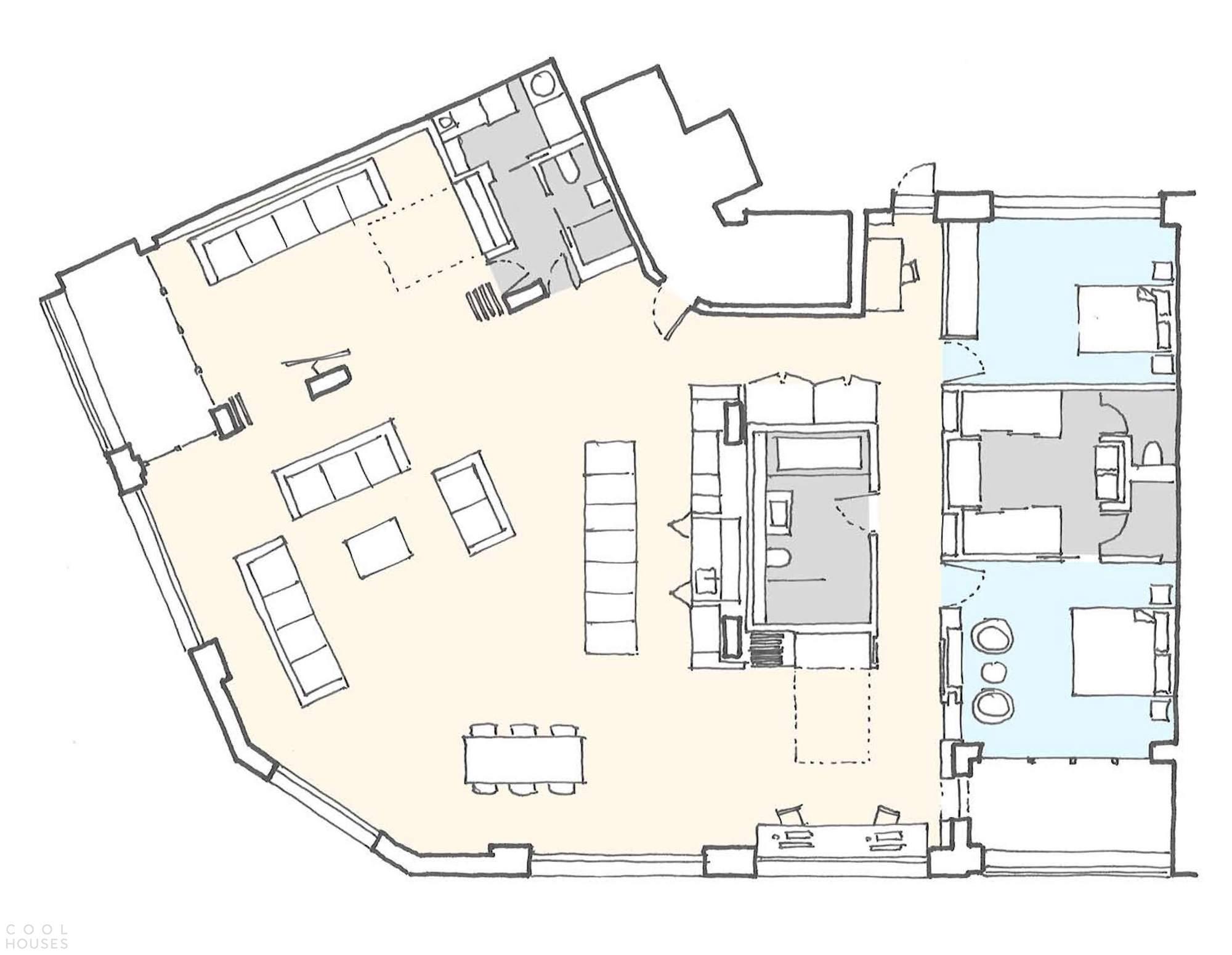Лофт с урбанистическим дизайном интерьера в центре Лондона, Англия