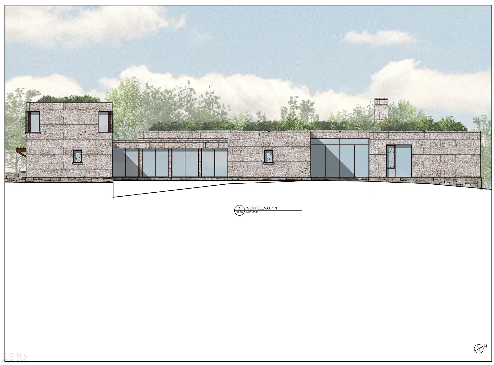 Современный каменный дом с минимальным воздействием на естественный ландшафт