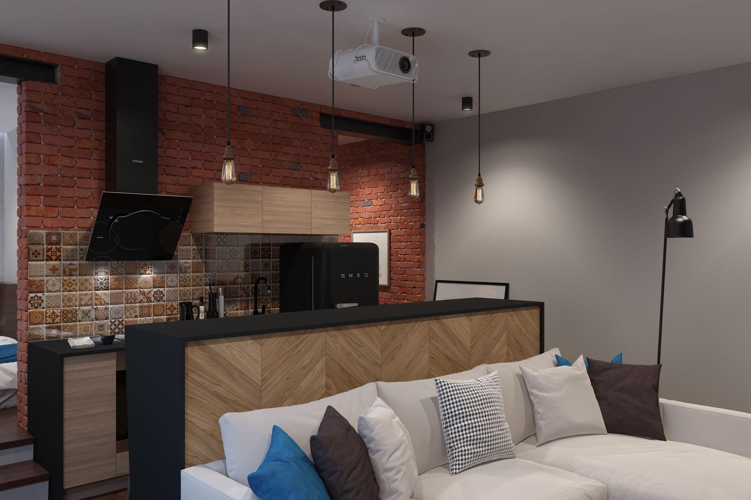 Дизайн квартиры площадью 43 кв.м. в стиле лофт в Подмосковье