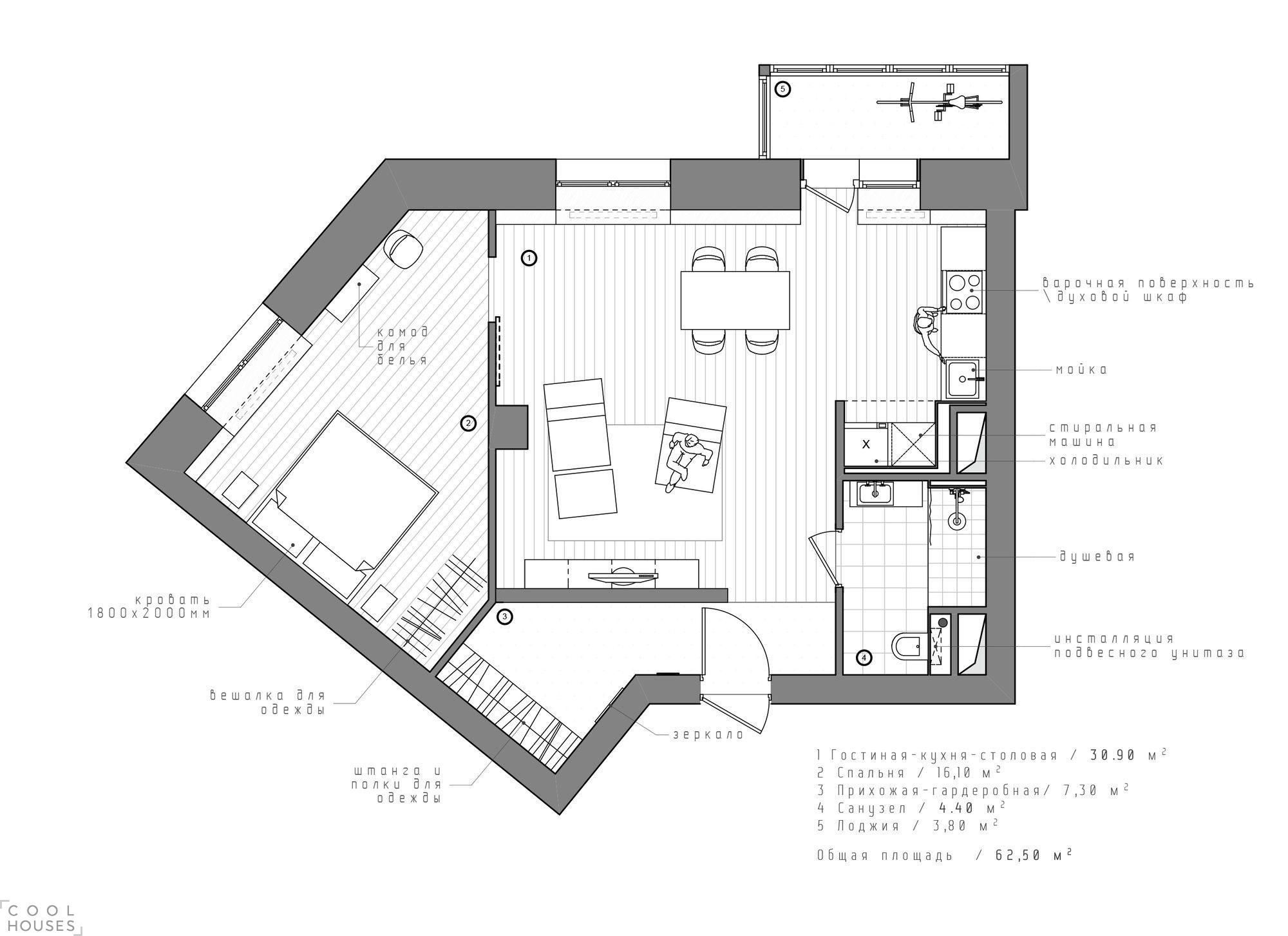 Интерьер квартиры в стиле минимализма в Санкт-Петербурге