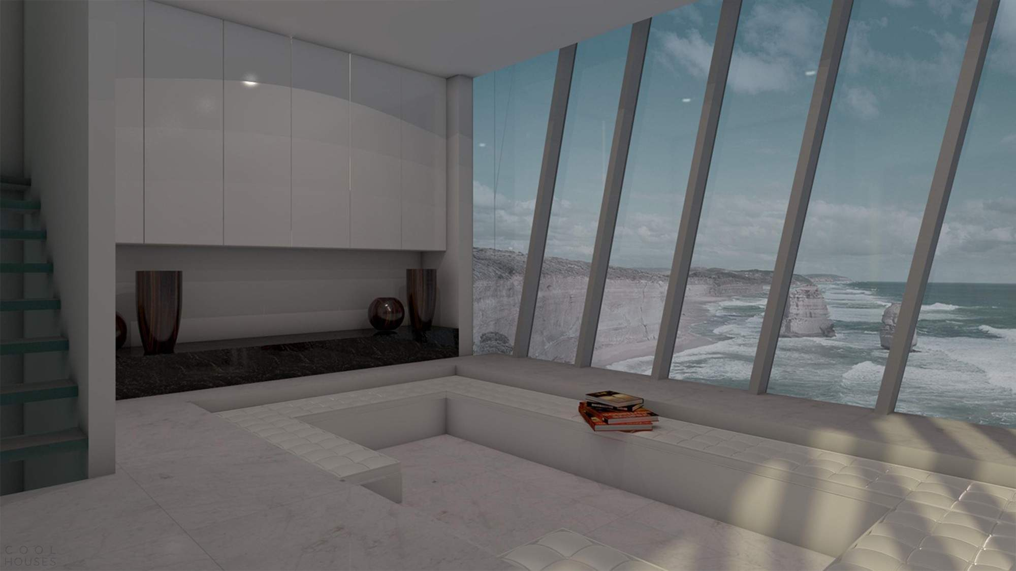 Проект дома в стиле хай-тек на крутой скале в Австралии