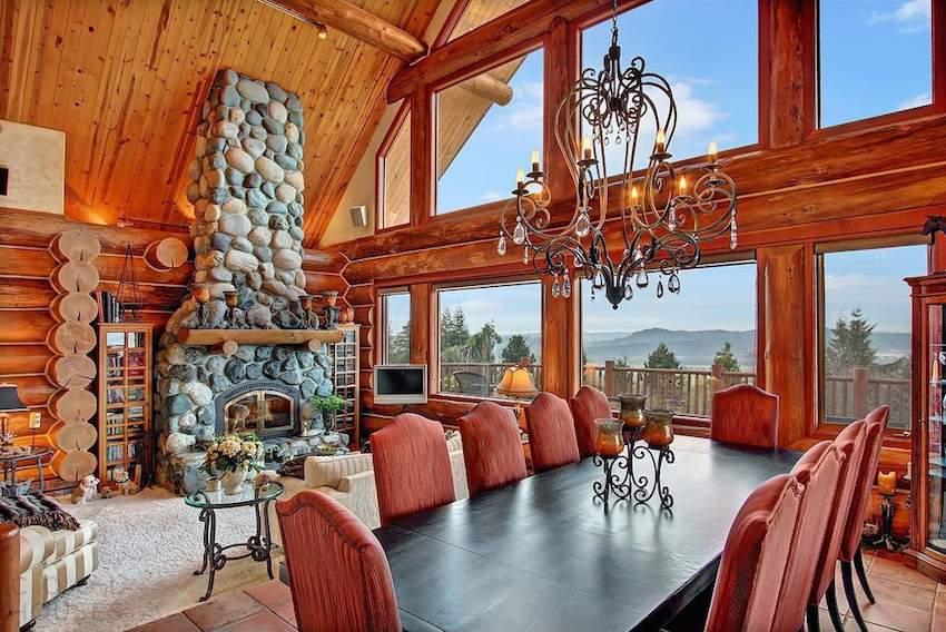 Роскошная усадьба со шведским бревенчатым домом в США