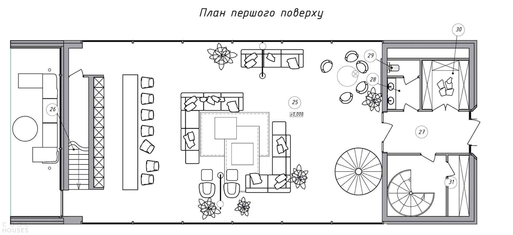 Современный минималистский дом, демонстрирующий симбиоз искусства и природы, Украина