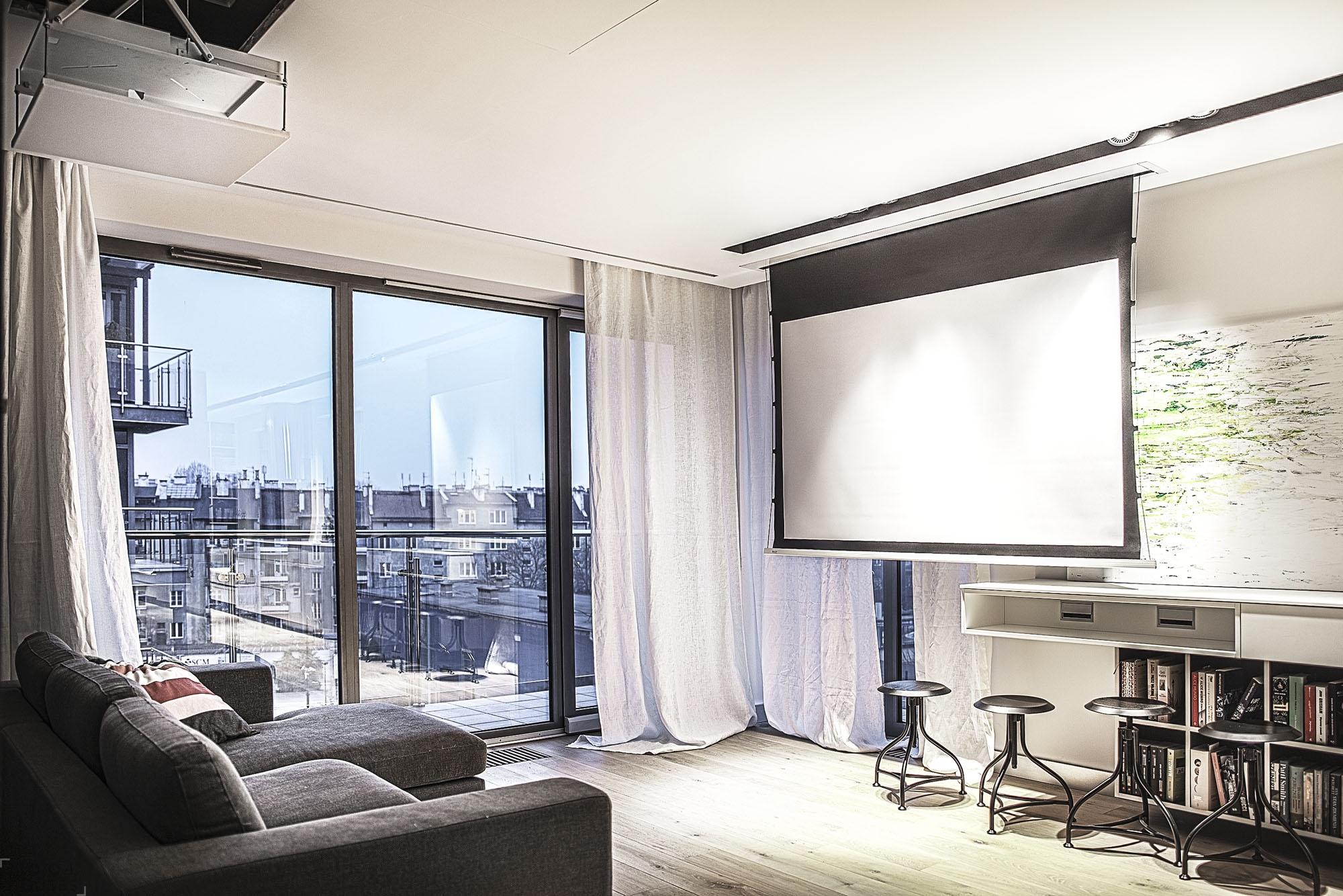 Оригинальная квартира, визуально разделенная на две части – день и ночь