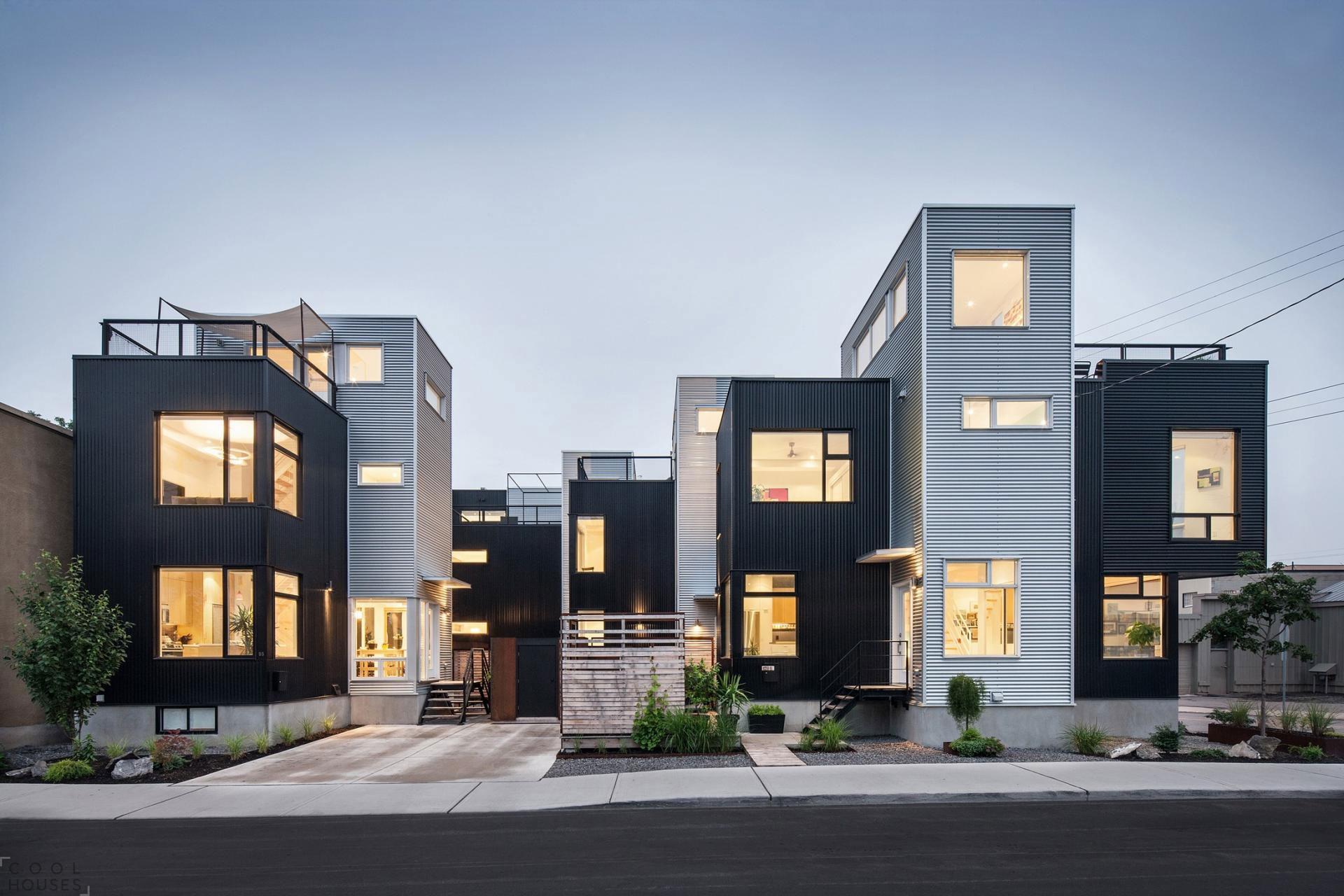 Современный жилой комплекс с ярким фасадом в индустриальном стиле в Оттаве