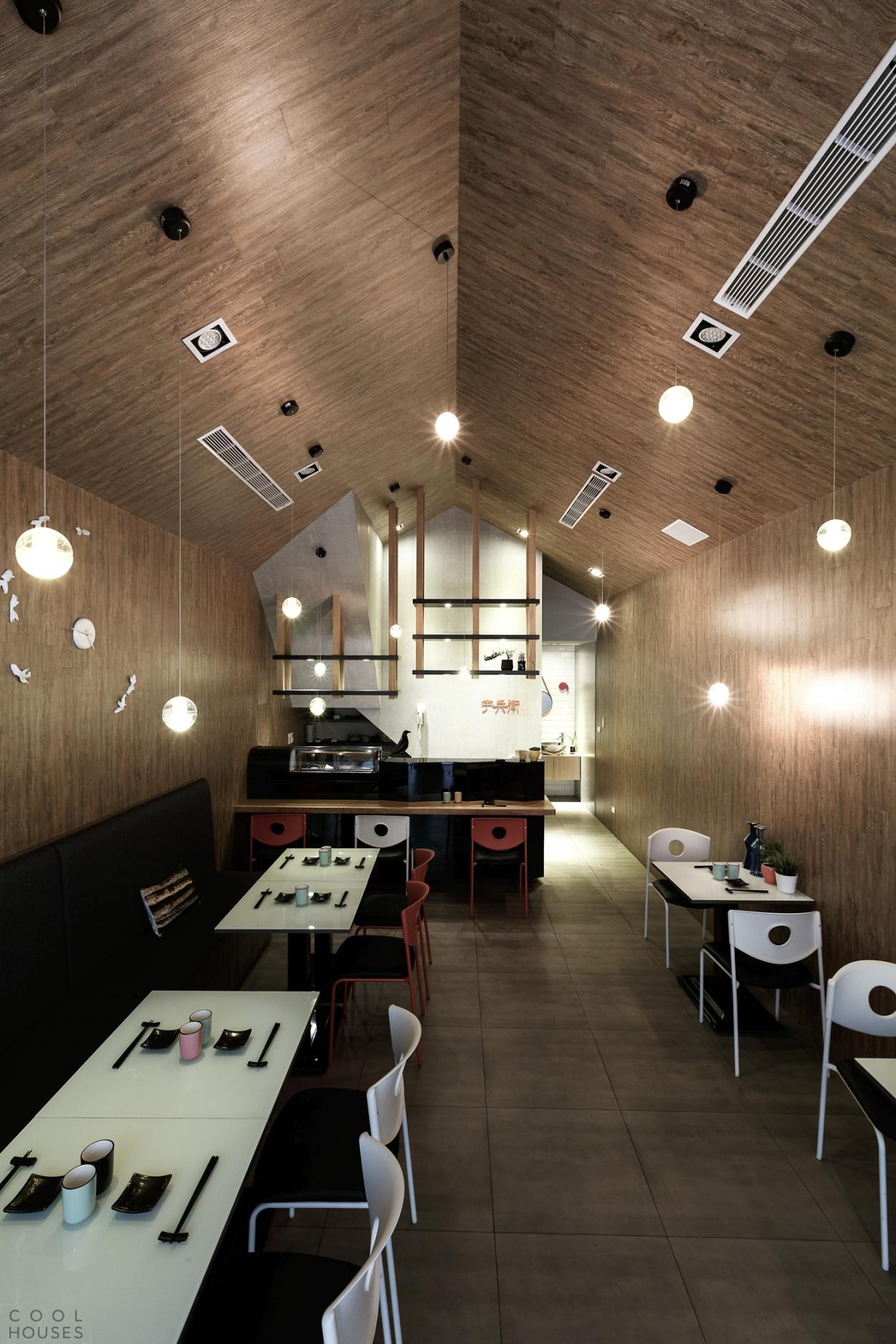 Стильный интерьер ресторана Uhee Sushi в Тайвани