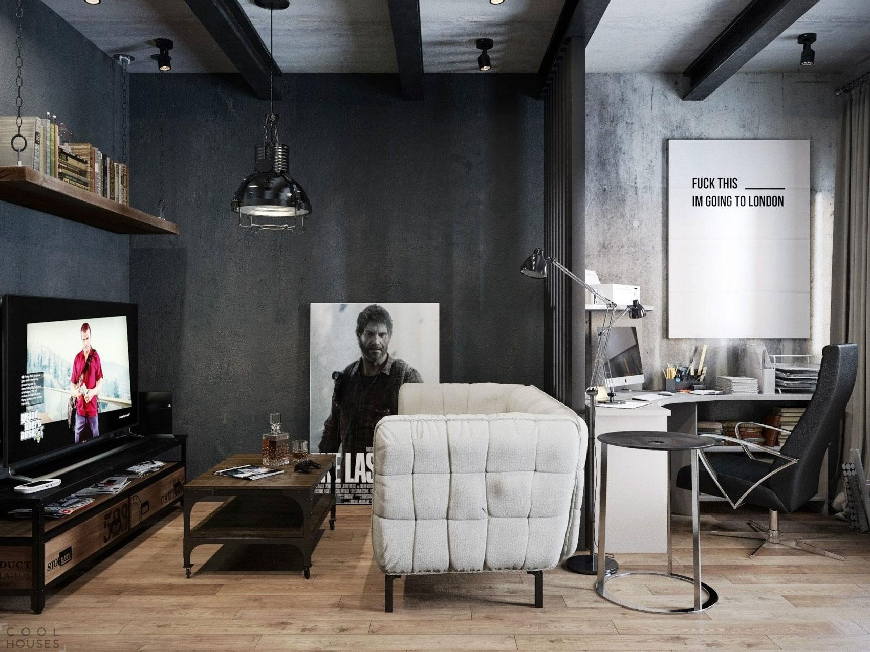 Стильные мужские апартаменты в стиле лофт от Дениса Красикова